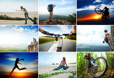 Collage with sport and travel theme. Hiking, cycling, climbing