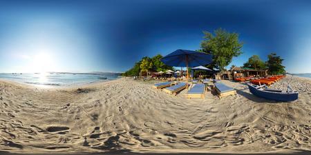 Foto de Spherical, 360 degrees panorama of tropical beach on the island of Trawangan, Indonesia - Imagen libre de derechos