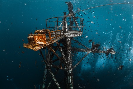 Photo for Underwater shot of the ship wreck near the island of Koh Chang, Thailand - Royalty Free Image