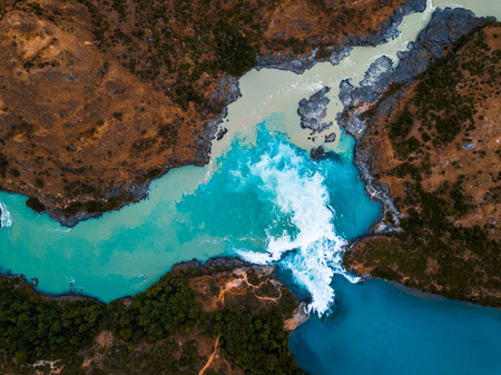 Photo pour Aerial view of the confluence of the river of Baker (blue) and the river of Neff, Chile - image libre de droit