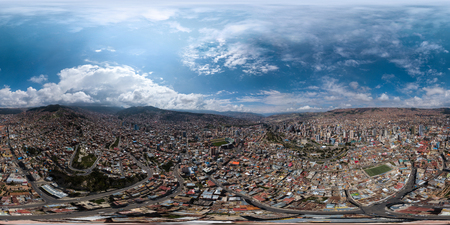 Photo pour Spherical, 360 degrees, seamless aerial panorama of the city of La Paz during sunny day. Bolivia - image libre de droit