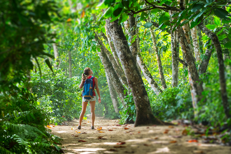 Photo for Young woman hiker stands in the tropical lush forest and looks at the trees. Tilt shift effect applied on the edges - Royalty Free Image