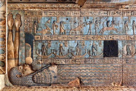 Photo for Hieroglyphic drawings and paintings on the ceiling and walls of the ancient Egyptian temple of Dendera - Royalty Free Image