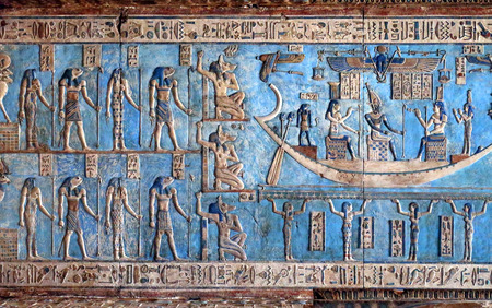 Photo for Hieroglyphic carvings and paintings on the interior walls of an ancient egyptian temple in Dendera - Royalty Free Image