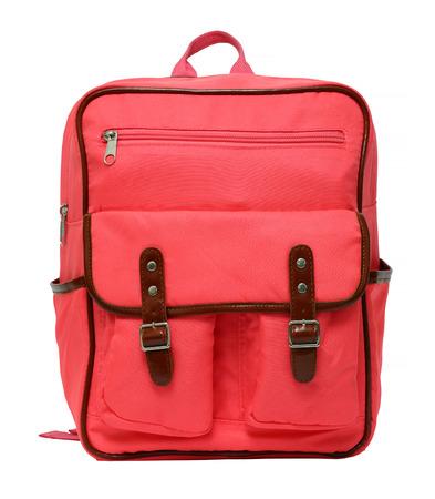 Foto de pink school backpack isolated on white background - Imagen libre de derechos