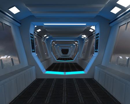 Photo pour Futuristic interior corridor - image libre de droit