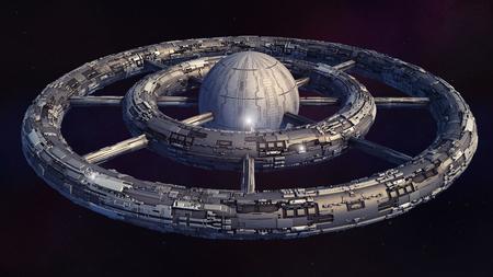 Photo pour 3D render Alien spaceship UFO concept - image libre de droit