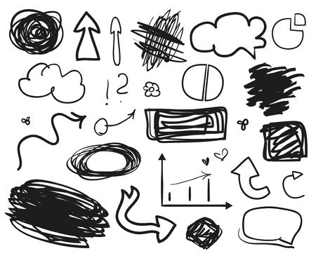 Illustration pour Infographic elements on isolation background. Set of different indicator signs. Tangled backdrops. Dirty artistic design objects. Doodles for work. Line art. Abstract circles, arrows and rectangles - image libre de droit