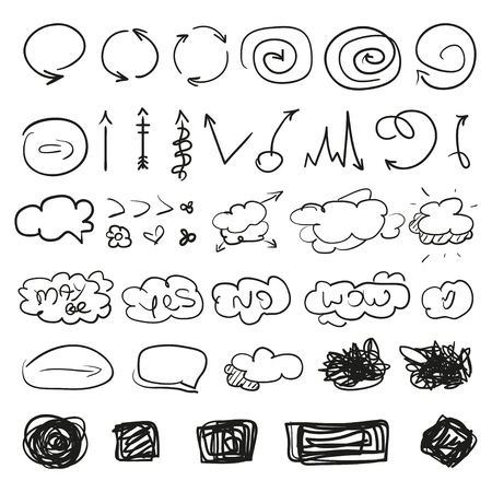 Illustration pour Big set of different signs. Hand drawn simple symbols for design. Line art. Infographic elements on white. Abstract circles, arrows, clouds and rectangle. Sketchy doodles for work - image libre de droit