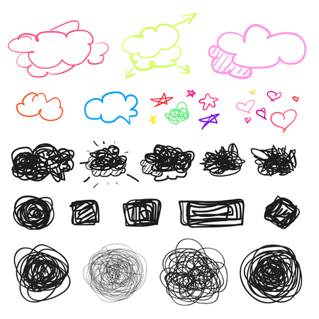Illustration pour Hand drawn simple chaotic symbols on white. Doodles for design. Line art. Abstract geometric shapes. Infographic elements on isolated background. Set of different signs. Tangled backdrops - image libre de droit