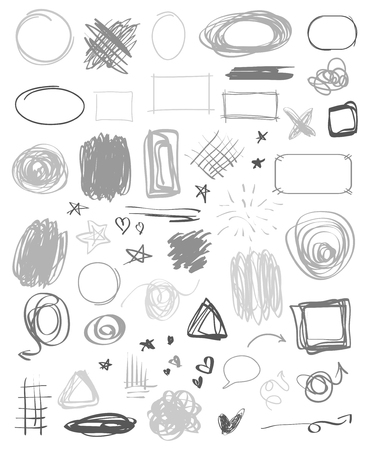 Illustration pour Infographic elements on isolated background. Abstract chaotic circles, arrows and rectangle frames. Symbols for design and work. Big set of different signs. Hand drawn simple objects. Doodles for work - image libre de droit