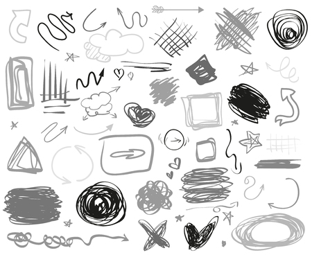 Illustration pour Abstract chaotic circles, arrows and rectangle frames. Symbols for design and work. Big set of different signs. Hand drawn simple objects. Doodles for design. Line art. Infographic elements on white - image libre de droit