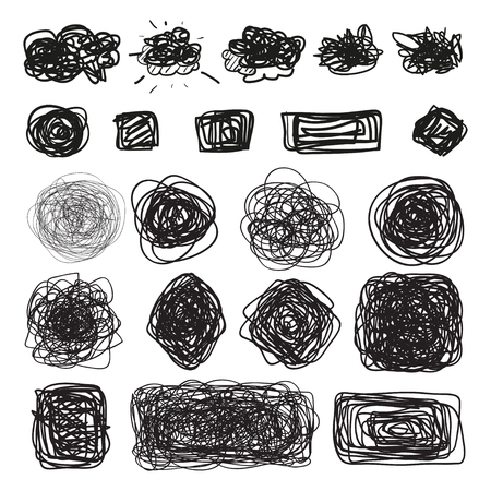 Illustration pour Hand drawn simple chaotic elements on white. Doodles for design. Line art. Abstract geometric shapes. Infographic symbols on isolated background. Set of different signs. Tangled backdrops - image libre de droit