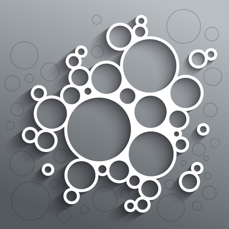 Illustration pour Abstract infographics white circles with shadow on grey background.  - image libre de droit