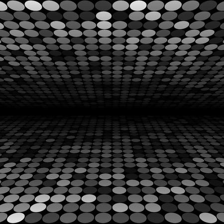 Illustrazione per Abstract black, white and grey disco circles background. RGB  vector illustration - Immagini Royalty Free