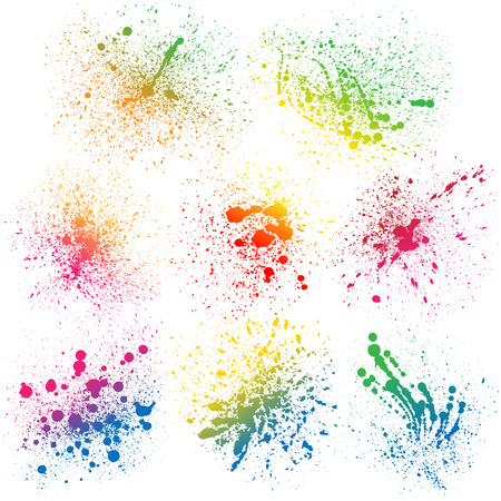 Ilustración de Set of 8 isolated colorful gradient rainbow grunge paint splashes on white background. RGB EPS 10 vector illustration - Imagen libre de derechos