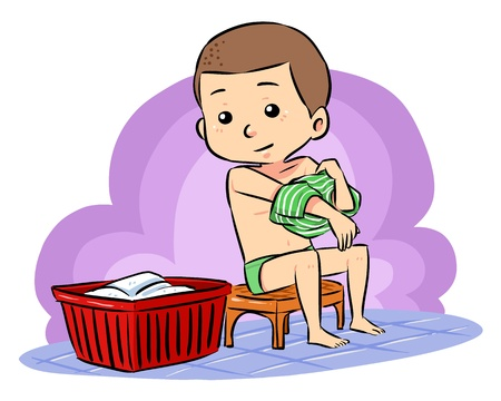 Illustration for Prepare To Take Bath  A boy put off his clothes prepare to take a bath - Royalty Free Image