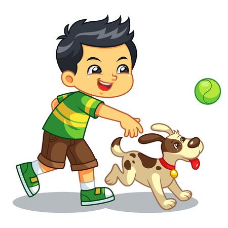 Ilustración de Boy Playing With His Pet Dog. - Imagen libre de derechos