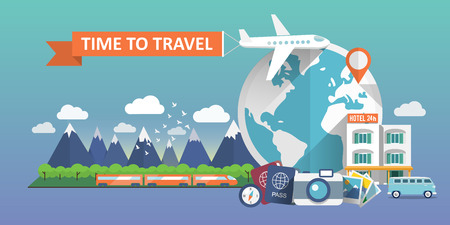 Illustration for Travel banner. Flat vector illustration. - Royalty Free Image