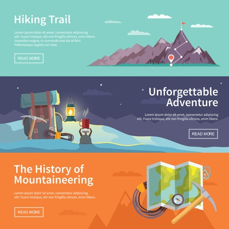Illustration pour Colorful vector flat banner set. The history of mountaineering. Unforgettable adventure. Hiking trail. - image libre de droit