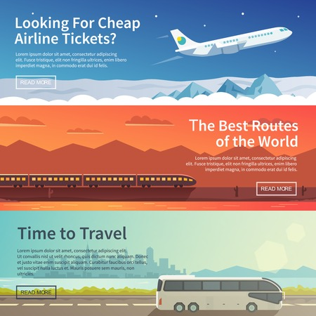 Illustration pour Vector flat banners set. Travelling - image libre de droit