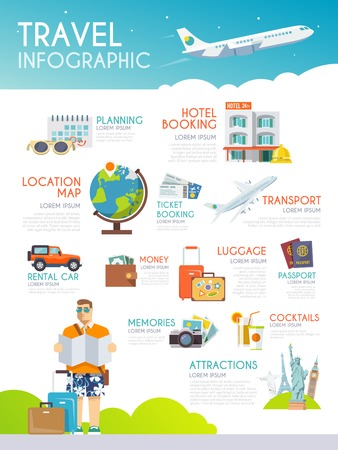 Illustration for Colourful travel vector infographic. Flat style - Royalty Free Image