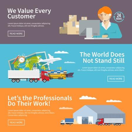 Illustration pour Flat vector logistics banners set - image libre de droit