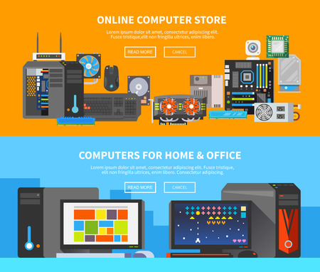 Ilustración de Beautiful set of colorful flat vector banners on the theme: assembling a desktop computer, buy computer, computer repair. - Imagen libre de derechos