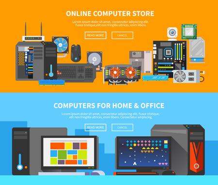 Illustration pour Beautiful set of colorful flat vector banners on the theme: assembling a desktop computer, buy computer, computer repair. - image libre de droit