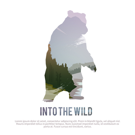 Ilustración de Vector poster on themes: wild animals of Canada, survival in the wild, hunting, camping, trip. - Imagen libre de derechos