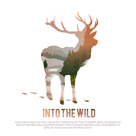 Illustration for Vector poster on themes: wild animals of Canada, survival in the wild, hunting, camping, trip. - Royalty Free Image