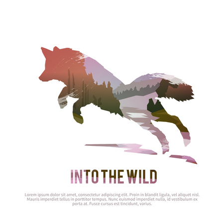 Illustration pour Vector poster on themes: wild animals of Canada, survival in the wild, hunting, camping, trip. - image libre de droit