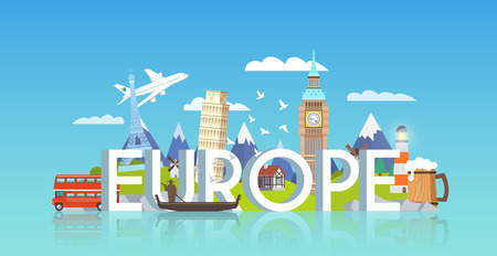 Illustration pour Vector banner on themes: trip to Europe, sights Europe, vacations in Europe, summer adventure. Modern flat style. - image libre de droit