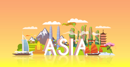 Illustration pour Vector banner on themes: trip to Asia, sights Asia, vacations in Asia, summer adventure. Modern flat style. - image libre de droit