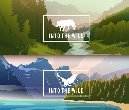 Photo pour Landscape banners on themes: nature of Canada, survival in the wild, hunting. Vector illustration. - image libre de droit