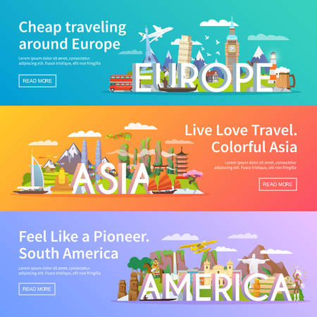 Illustration pour Beautiful set of flat vector banners on the theme Asia, Europe, America, summer travel, adventure, vacation. Modern flat design. - image libre de droit