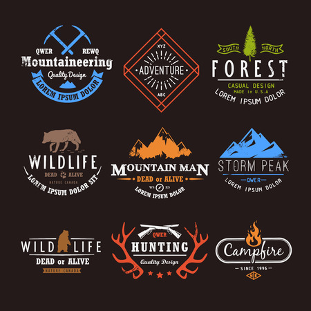 Ilustración de Set of premium vector labels on the themes of wildlife, nature, hunting, travel, wild nature, climbing, life in the mountains, survival, Retro, vintage, casual design - Imagen libre de derechos