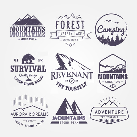 Illustration pour Set of premium vector labels on the themes of wildlife, nature, hunting, travel, wild nature, climbing, life in the mountains, survival, Retro, vintage, casual design - image libre de droit