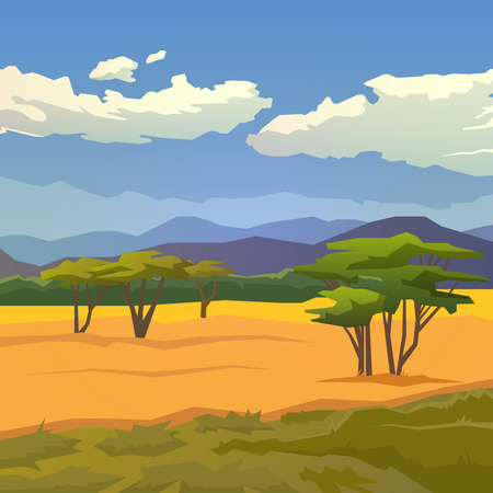 Illustration pour Vector illustration on themes: nature of Africa, safari, noon in Savannah, hunting, camping, trip. African landscape Modern flat design. - image libre de droit