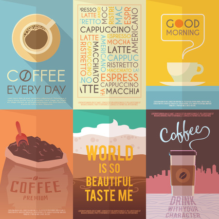 Ilustración de Beautiful set of vector vintage posters for your projects. Coffee, cafes, coffee shops, types of beverages. Italian coffee. The consumption of coffee. Breakfast. - Imagen libre de derechos