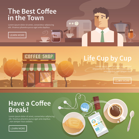 Ilustración de Beautiful set of vector banners for your projects. Coffee, coffee drinks.City, cityscape, landscape. Couple, a date. Evening Cafe, coffee shop Coffee house Barista Flat design. - Imagen libre de derechos