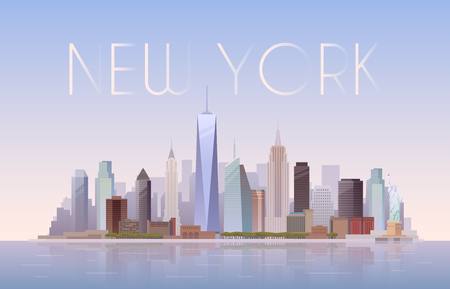 Illustration for Vector background of the urban landscape of New York. Cityscape. Skyline. Flat design. - Royalty Free Image