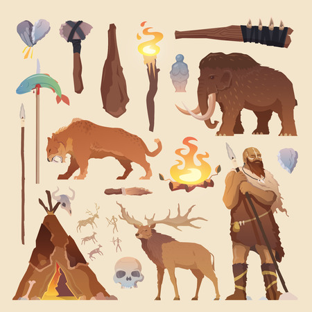 Illustration pour Great vector set of elements for your projects. Primitive man. Ice age. Cavemen. Stone age. Neanderthals. Homo sapiens. Extinct species. Evolution. Hunting Flat design. - image libre de droit