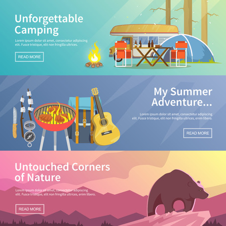 Illustration pour Colourful camping vector flat banner set for your business, web sites etc. Quality design illustrations, elements and concept. Unforgettable camping. Summer adventure. Untouched corners of nature. - image libre de droit