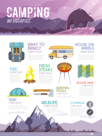 Illustration pour Colourful camping vector infographic. The concept of infographic for your business, web sites, presentations, advertising etc. Quality design illustrations, elements and concept. Flat style. - image libre de droit