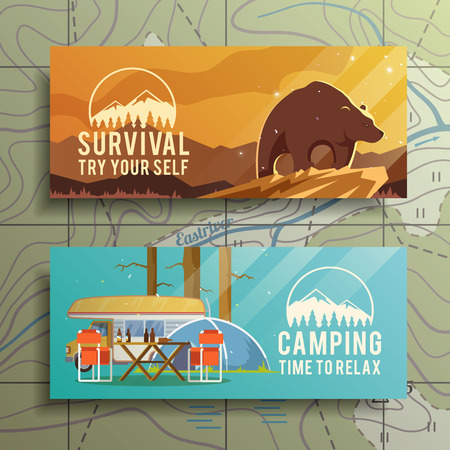 Ilustración de Flat vector camping  banners on the subject of wilderness survival, camping, travel, etc.. Quality design illustrations, elements and concept. Flat design. - Imagen libre de derechos