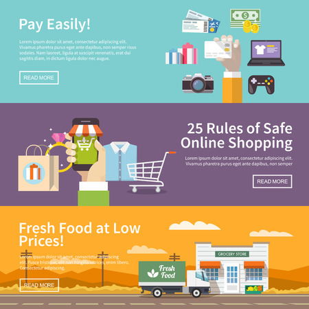 Illustration pour Beautiful set of colorful flat vector banners on the theme: online shopping, payment, delivery of the goods . All items are created with love especially for your amazing projects. - image libre de droit