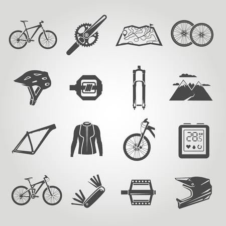 Illustration pour Simple black icons set. Mountain bike. Set 4 - image libre de droit