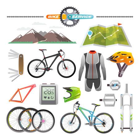 Illustration pour Modern flat icons set. Mountain bike. Set 1 - image libre de droit