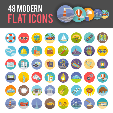 Illustration pour Big set of modern colorful flat vector icons on the themes: travelling, vacations, climbing, camping. All items are created with love especially for your amazing projects. - image libre de droit